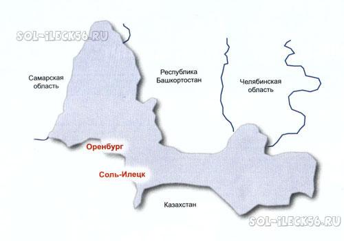 Карта Оренбургской области и Соль-Илецкого района